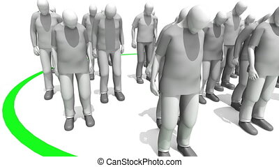 Stepping up to the plate animation. 3D people inside of a...