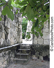 Steps and stone arch at Mexican ruins