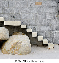Steps and wall on the beach.