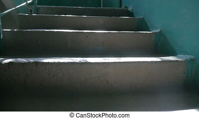 steps concrete in the entrance of sunlight falls indoors...