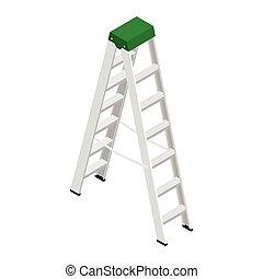steps., construcción, aluminio, stepladder, metálico, casa, aislado, vector., escalera