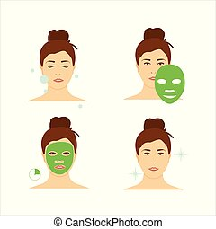 Steps how to apply facial mask. Beauty fashion girl apply facial mask.