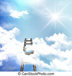 Steps in the clear sky - Stepladder in a clear sky, vector...