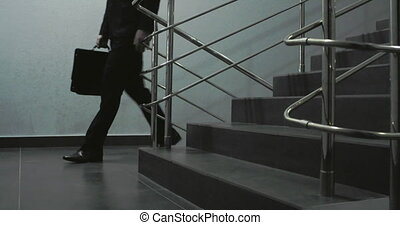 Steps Leading to Office - Businessman with briefcase in his...