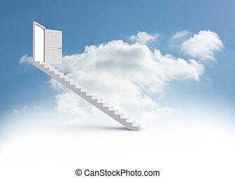 Steps leading to open door in the sky