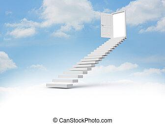 Steps leading to open door in the s