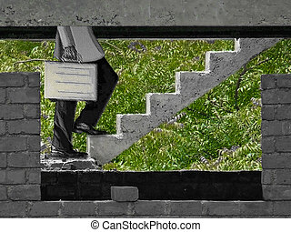 Steps of a building under construction, Success Concept