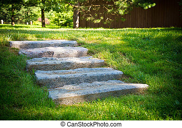 Steps of gray stone .Texture or background