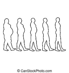 steps of losing weight men on white from fat to slim vector for print or website design