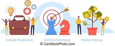 steps., plat, vecteur, stratégie commerciale, cibler, graphique, illustration, conception, réussi, dessin animé