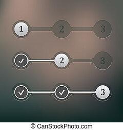 Steps progress - Vector set of ui elements step by step...