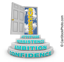 A series of steps with words - Confidence, Ambition, Persistence and Attitude - lead to an open door with the word Success showing through it