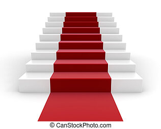 Staircase with red ribbon succes concept
