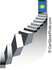 Steps. Stairway to the sky. Realistic stone ladder with open door. Vector illustration. Staircase concept.