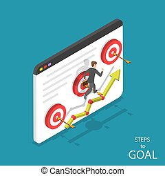 Steps to goal isometric flat vector concept.