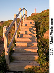 Steps to lighthouse - Cape Spear lighthouse in Newfoundland ...
