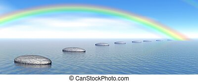 Steps to rainbow - Grey stones steps upon the ocean going to...