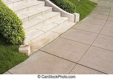 Your basic steps leading to a sidewalk.
