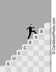 Steps to Success Cartoon Vector Illustration