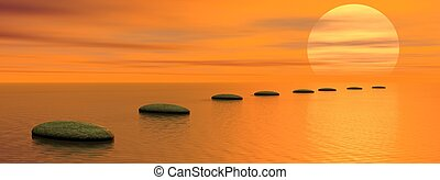 Steps to the sun - Grey stones steps upon the ocean going to...