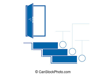 Steps up ladders and doorway. Template infographic. Monochrome. Blue. 3 positions