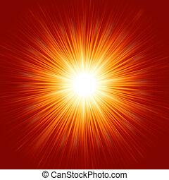 ster barstte open, rood en geel, fire., eps, 8