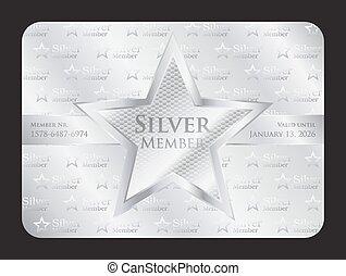 ster, club, groot, lid, zilver, kaart