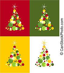 ster, gekleurde, bovenzijde, pattern., bomen, bellen, kerstmis