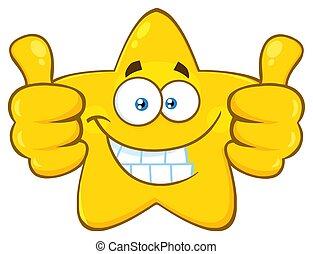 ster, geven, karakter, op, gele, twee, duimen, het glimlachen gezicht, spotprent, emoji