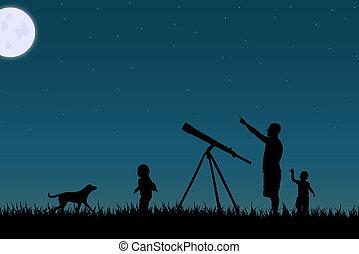 ster, gezin, sky., beeld, tegen, nacht, het turen