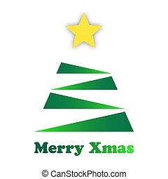 ster, goud, boompje, stylized, groene, kerstmis