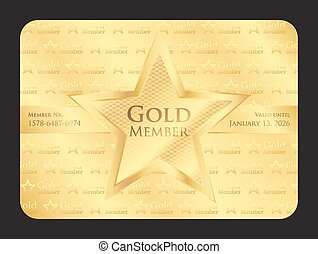 ster, goud, club, groot, lid, kaart
