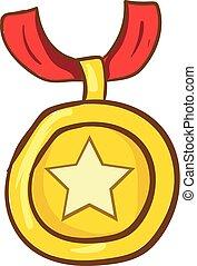 ster, goud, kleur, illustratie, vector, medaille, of