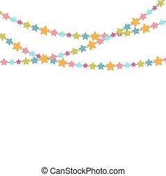 ster, illustratie, vector, achtergrond, confetti, feestje