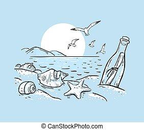ster, illustratie, vector, schets, black , boodschap, zee, bottle., marinier, achtergrond, blauwe , witte , seashells, colors., getrokken, hand, strand, romantische