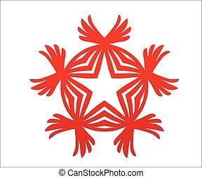 ster, kampioen, overwinning, logo, vleugels, rood