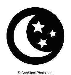 ster, maan, ontwerp, illustratie, pictogram