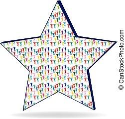 ster, mensen, illustratie, vorm, vector, logo, pictogram