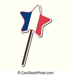 ster, model, vlag, versuikeren, frankrijk, vorm, lollipop