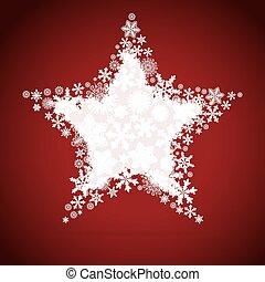 ster, ontwerp, kerstmis, sneeuwvlok, achtergrond.