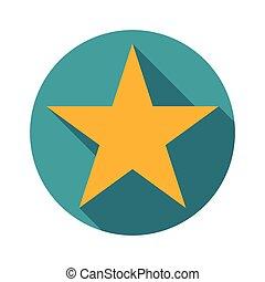 ster, pictogram, lang, schaduw, plat, ontwerp, vector, illustratie