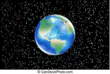 ster, ruimte, globe, planeet, achtergrond, aarde