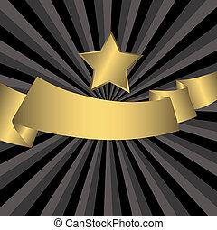 ster, (vector), goud, abstract, grijze , achtergrond