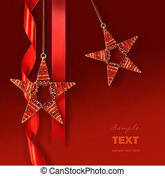 ster, versieringen, tegen, achtergrond, kerstmis, rood