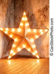 ster, vloer, houten, warme, achtergrond, lege