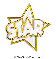 ster, vrijstaand, achtergrond, woord, witte , het glanzen