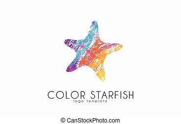 ster, zee, kleur, zeester, logo., starfisg., creatief, oceaan