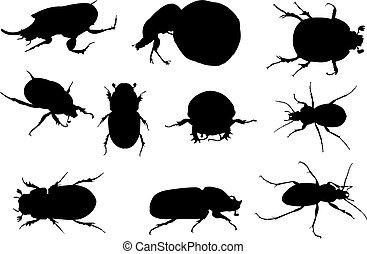 sterco, vettore, silhouette, illustrazione, scarabeo