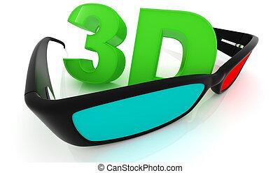 stereo, 3d, bianco, occhiali