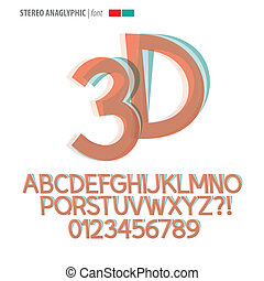 stereo, anaglyphic, alfabet, en, cijfer, vector